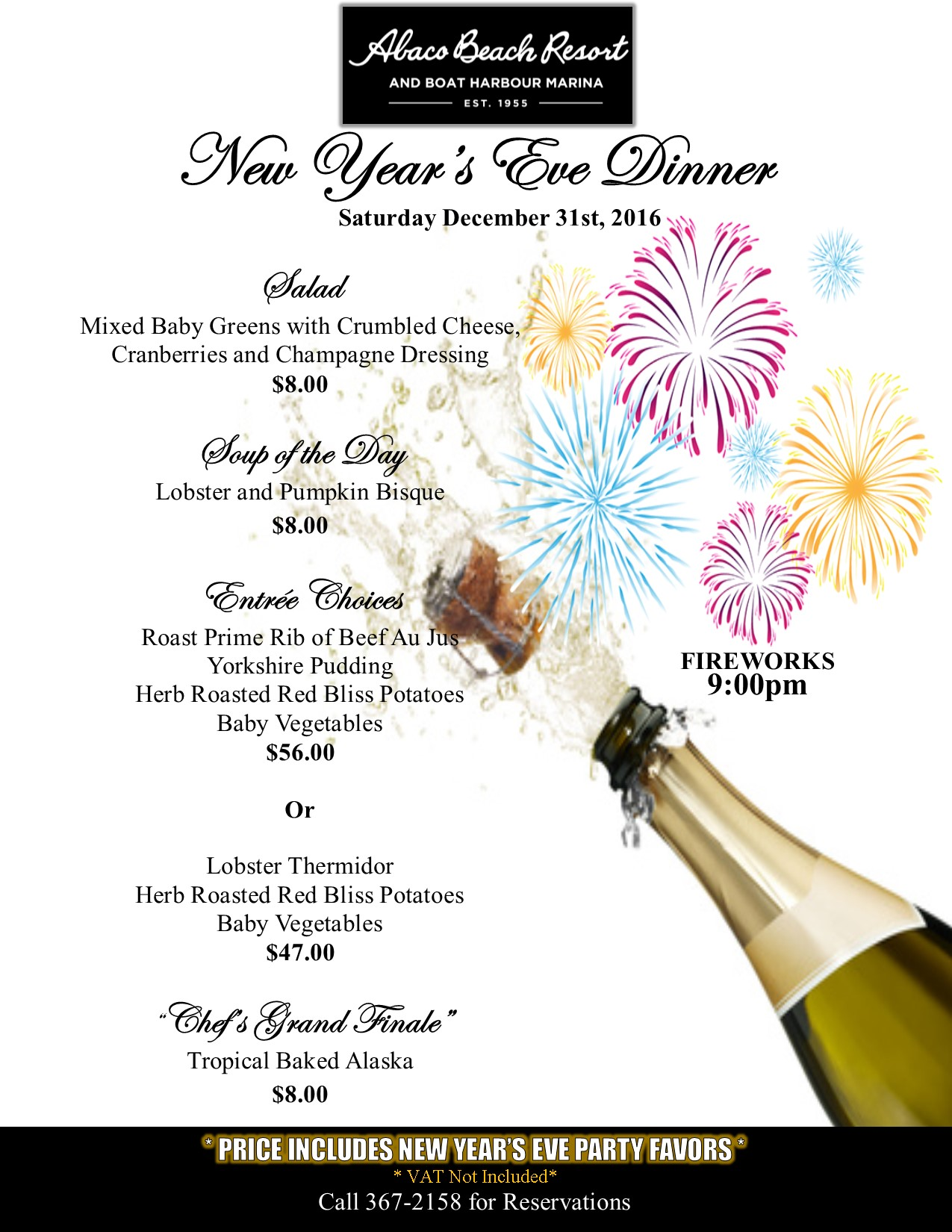 Abacos New Year's fireworks and Dinner | Bahamas Out Islands NYE parties
